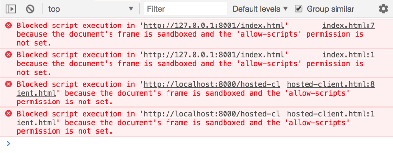 Sandboxed iframes with no permissions block all scripts from running